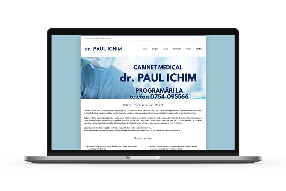 Realizare site web cabinet medical Dr. Paul ICHIM